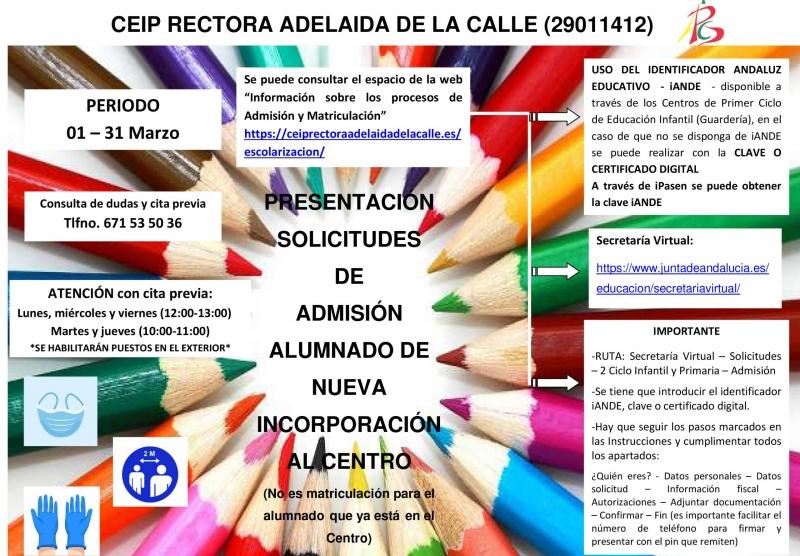 Cartel Presentación Solicitudes Admisión Alumnado nueva incorp